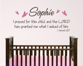Nursery Wall Art, Personalized... I prayed for this child