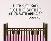 Noah's Ark Children Room Scripture Wall Decal, bible verse vinyl wall art, Animal wall graphic for nursery