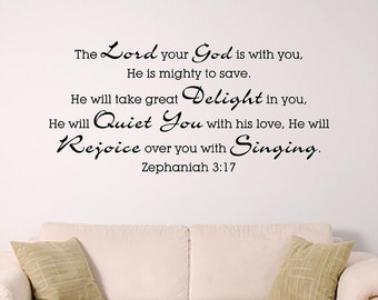 Bible Verse Wall Art, Zephaniah 3:17 , Mighty to Save, Childrens Room Wall Graphic, Home Decor