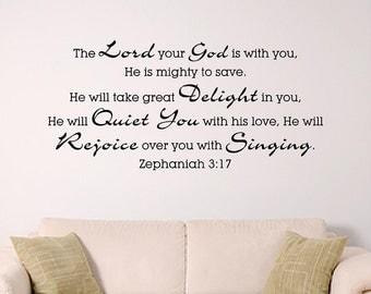 Custom 243 cm x 121cm , Zephaniah 3:17 ... mighty to save