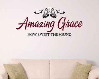 Amazing Grace Home Wall Decall, Hymn Wall Decal, Church Wall Graphic
