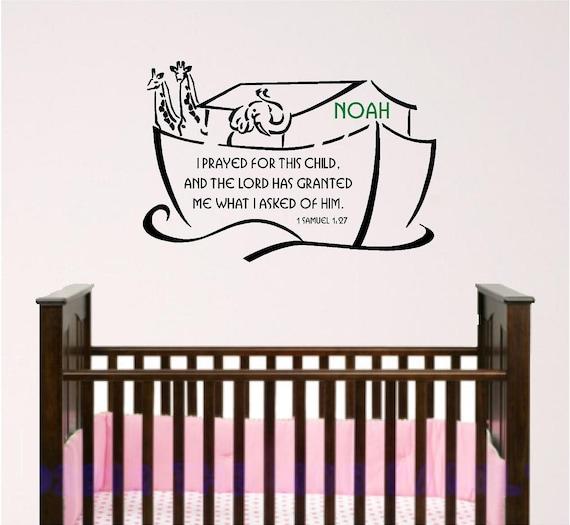 Nursery Bible Verse Wall Art Noah Ark With Custom Child S