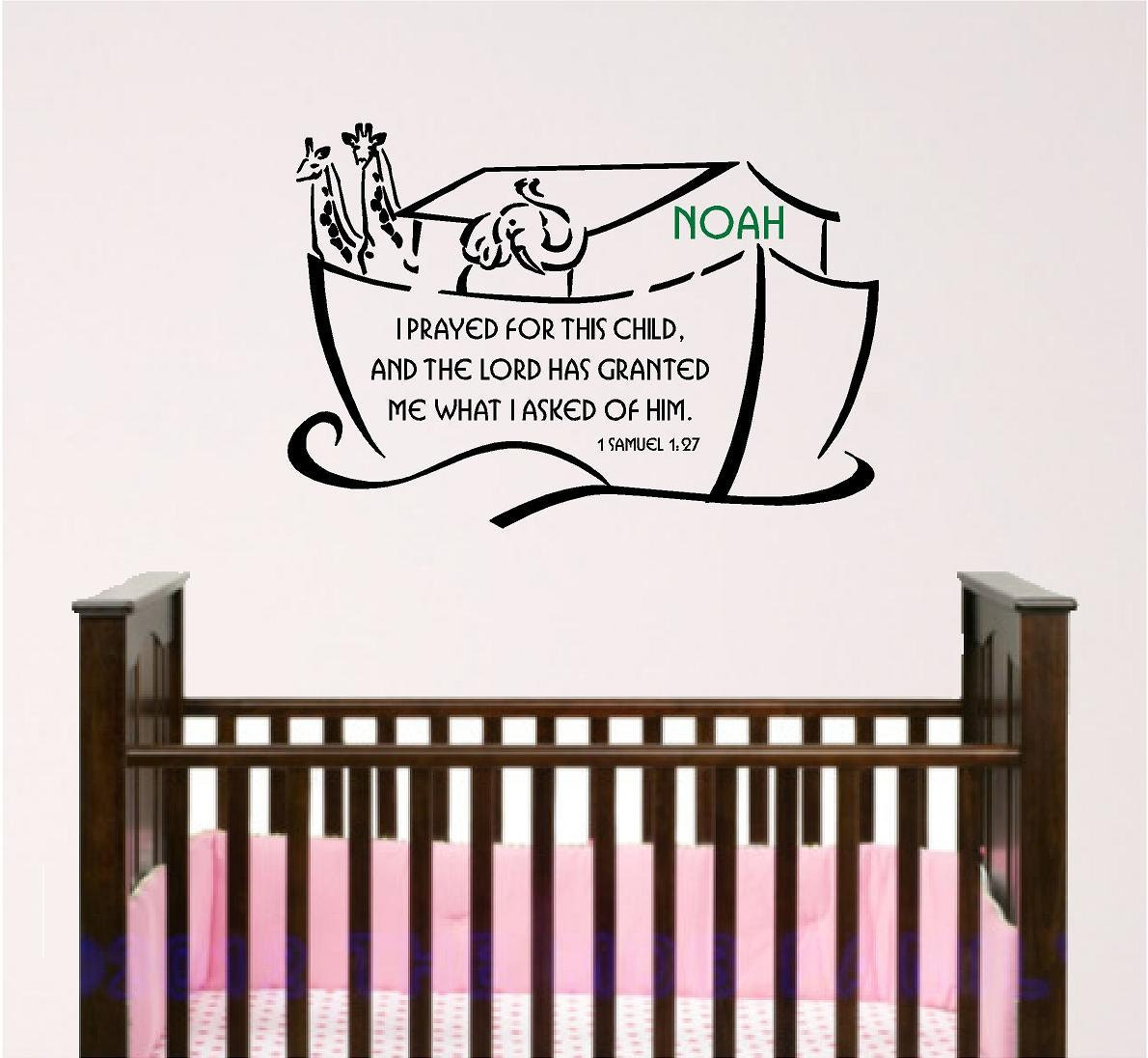 Nursery bible verse wall art noah ark with custom child 39 s for Bible verses for kids rooms