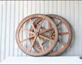 Primitive Wheel Pair // Rustic Farm Decor