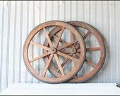 Primitive Wheel Pair // Rustic Farm Decor - buffalowinter