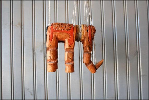 v i n t a g e elephant marionette puppet