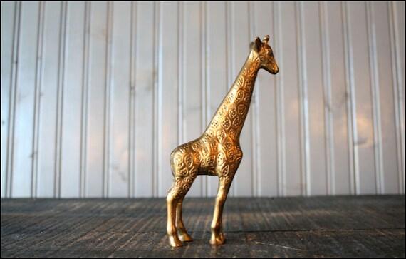 v i n t a g e brass giraffe