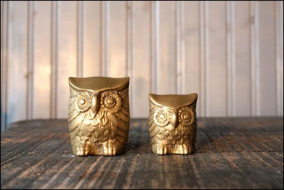 Brass Owl Pair // Solid Brass