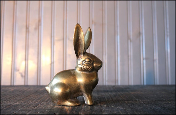 Brass Bunny Rabbit // Solid Brass Paperweight