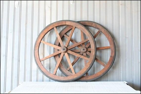 Primitive Wheel Pair // Rustic Farm Decor