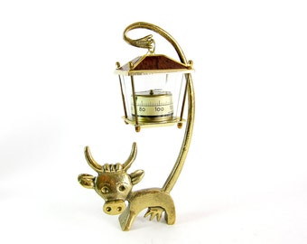 Walter Bosse Cow Thermometer - Vintage Mid Century Original Austrian 1960s Brass Cow Figurine with Thermometer