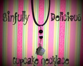 Sinfully Delicious Cupcake Necklace, Cupcake Charm, Girlie, Flirty, Pink and Black