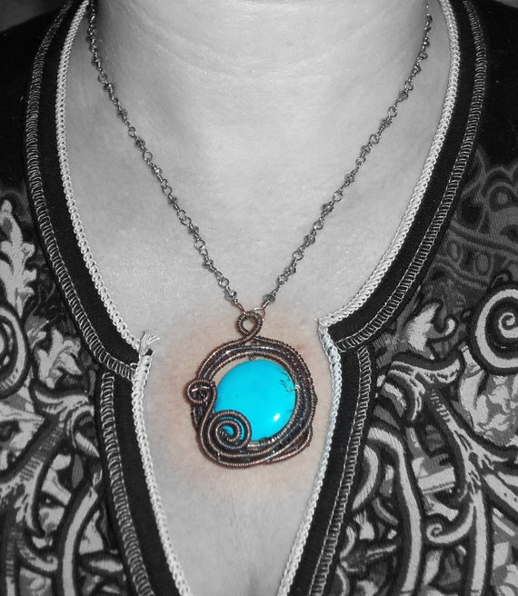 Handmade Turquoise Swirls Necklace in copper