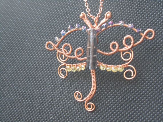 Dragonfly crystal and copper necklace