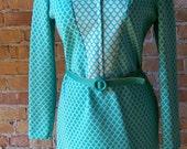 60s polyester seafoam green Mod dress