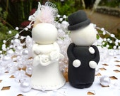 Wedding CAKE TOPPER . . . Lovey Dovey Bride and Groom  . . . Customized