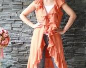 2 in 1 Beautiful  layer ruffle trim wrap around dress or easy coat- light orange