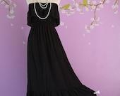 Sexy Strapless  Ruffle Trim at Neckline Long Maxi Dress - Black