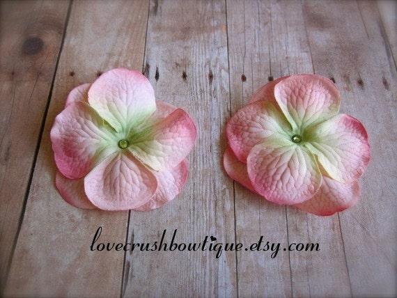Lovely Pair of Pink & Green Geranium Flower Hair Clips Clippies Swarovski Crystals