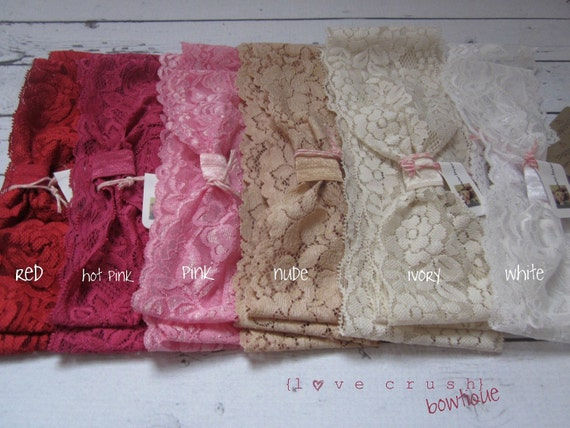 l o v e  c r u s h SET OF 3  vintage inspired wide stretch lace headbands head wraps NEW colors (newborn-adult)