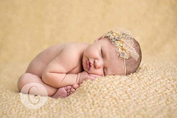 dainty shabby ruffle veil rosette pearl velvet skinny headband in camel (newborn-adult) Photo Prop