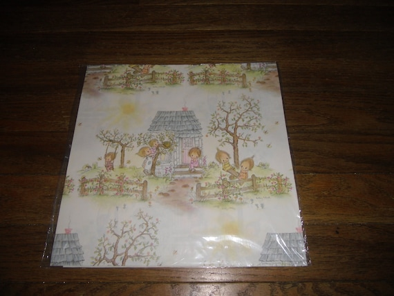 Vintage Wrapping Paper New Betsey Clark House Tree Kids
