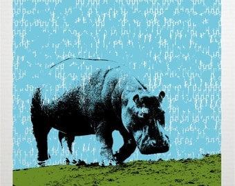 Blue Hippo Pop Art Print - Hand Printed Silkscreen