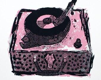Record Player Art Print - Hand Printed