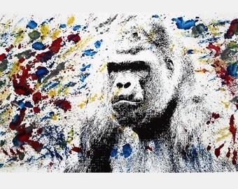 Gorilla Art Print - Hand Printed