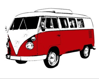 VW Bus Art Print Red - Hand Printed 12x18
