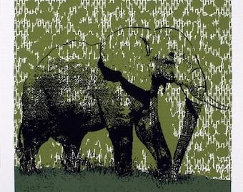 Elephant Art Print (Green) - Hand Printed