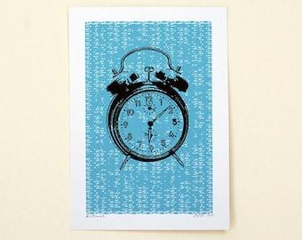 Clock Art Print No.1 (Blue)  - Hand Printed - 5X7