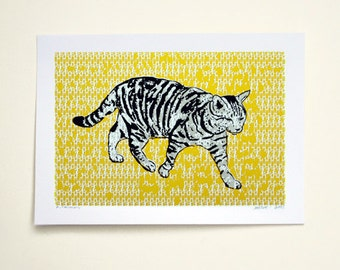Cat-Domestic Silver Tabby (Yellow)  - Hand Printed Art Print - 5X7