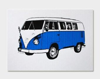 VW Van Art Print (Blue) - Hand Printed - 5X7
