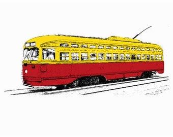 Streetcar Art Print - Retro Pop Art - Hand Printed - 5X7
