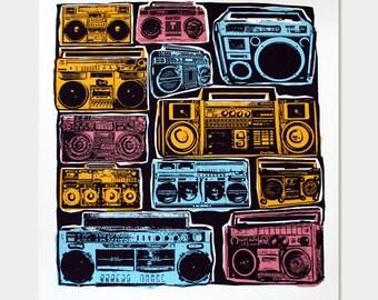 Boomboxes Art Print - Ghetto Blaster - Hip Hop Hipster Pop Art - Hand Printed