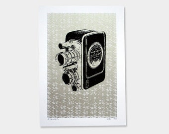 Camera Art Print No.1 (Silver) - Hand Printed - 5X7