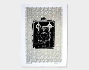 Camera Art Print No.4 (Silver) - Hand Printed - 5X7