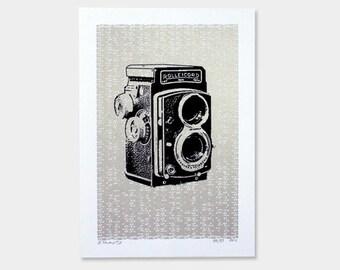 Vintage Camera Art Print - Silver - Hand Printed - 5X7