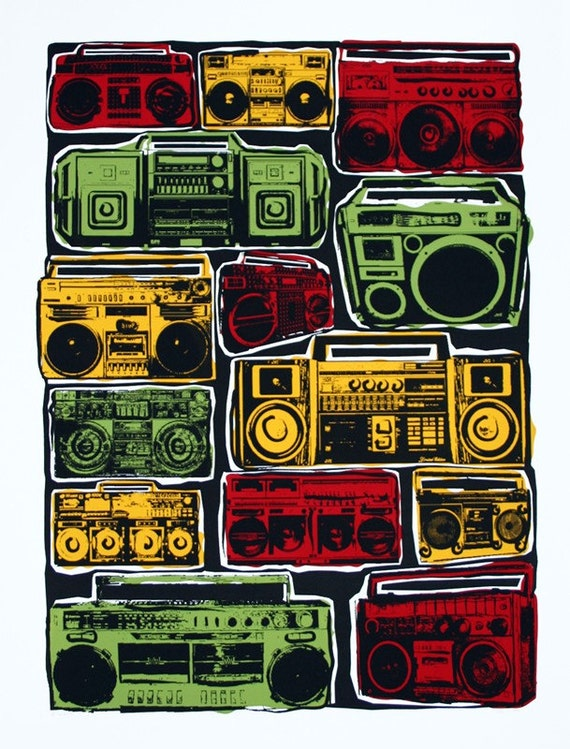 Boom Boxes Hip Hop Hipster Art Print - Hand Printed