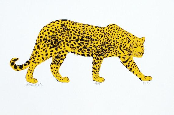 Jaguar Art Print - Hand Printed - 5X7