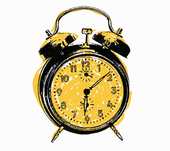Alarm Clock Art Print (Yellow) - Hand Printed