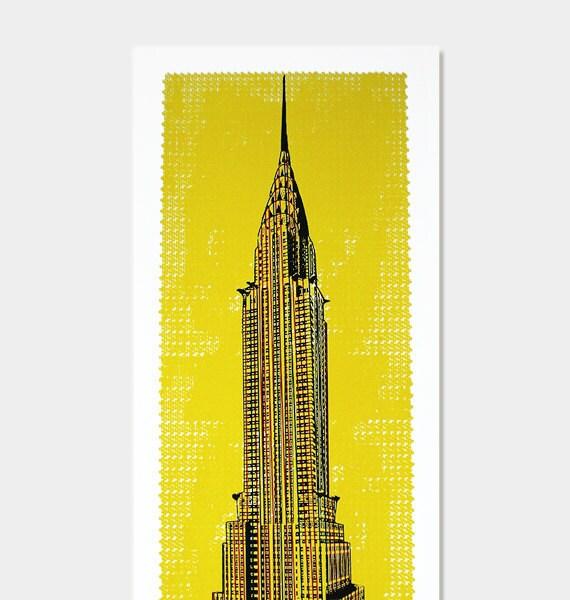 Items similar to chrysler building art print pop art deco yellow wall decor hand printed - Deco pop art ...