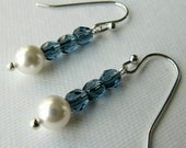 Cyber Monday Etsy - 30%  off - code BLKFRI - Blue Czech Glass Beads Dangle Earrings with White Swarovski Pearls (370)