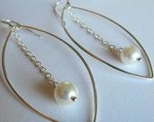 Sterling Silver and Pearl Earrings Marquise Pearl Earrings (10234)