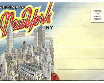 Vintage - Souvenir of New York Postcard Folder 1940s New York City