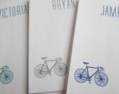 Paper Notepads: Personalized/Custom, Bicycle, Modern Design, FSC Certified Eco-Responsible, Red Orange Yellow Green Blue Purple Pink
