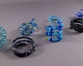 Adjustable Beaded Ring - Blue Series