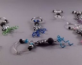 Wine and Cocktail Charms - Silver Lava (Set of 8)