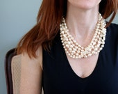Beautiful 60s Six Strand Faux Pearl Necklace